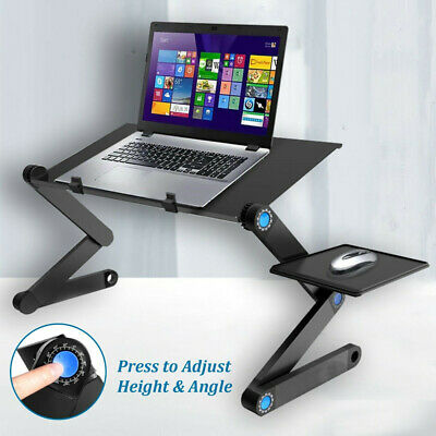 Adjustable Folding Laptop Stand Tray Desk Table With Mouse Pad Dual Cooling Fan • 15.99£