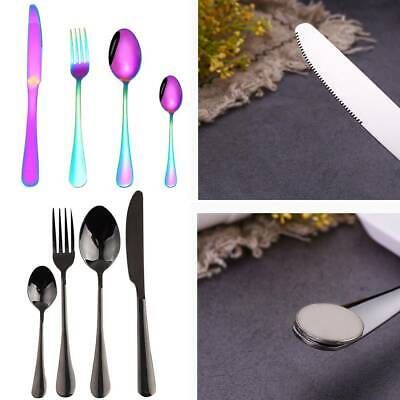 £19.29 • Buy 32pcs Colorful Iridescent Fork Spoon Stainless Cutlery Set For Dining UK