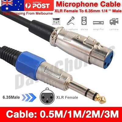 "AU6.95 • Buy XLR Female To 6.35mm 1/4"" Male Microphone Stereo Audio Cable TRS Jack Lead/Mic A"