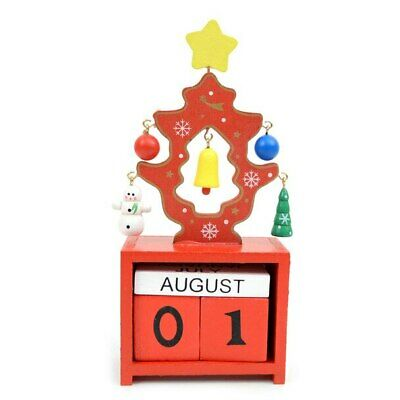 £10.64 • Buy Red Christmas Tree Shape Wooden Calendar Holiday Home Decor Desk Decorations