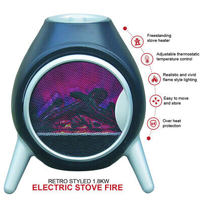 Electric Fire Heater Log Burning Flame Effect 1.8KW Black Oval Shape • 458.99£
