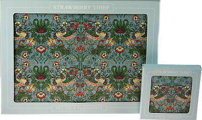 £13.99 • Buy Set Of 4 Strawberry Thief William Morris Design Dinner Place Mats And Coasters