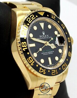 $ CDN44106.46 • Buy Rolex GMT Master II 116718 18k Yellow Gold Black Dial Ceramic Bezel *MINT B/PAPR