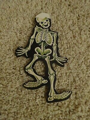 $ CDN11.43 • Buy Vintage 50s DIE CUT Small SKELETON Laughing HALLOWEEN Decor 7 1/4