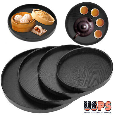 $6.78 • Buy 21-33cm Round Wood Serving Tray Food Tea Coffee Plate Breakfast Snack Table Tray