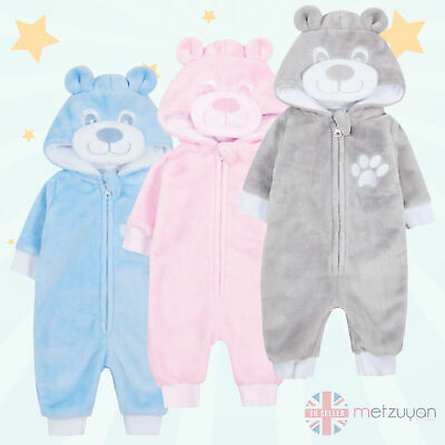 Baby Boys Girls 1Onesie Jumpsuit All In One Teddy Bear Fleece Snuggle Newborn UK • 11.99£