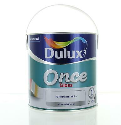 Dulux Once Gloss Pure Brilliant White Paint 2.5L Wood & Metal Interior Exterior • 22.99£