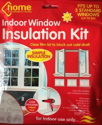 £3.75 • Buy Window Insulation Kit Shrink Fit Double Glazing Film Draught Excluder Frost Cold