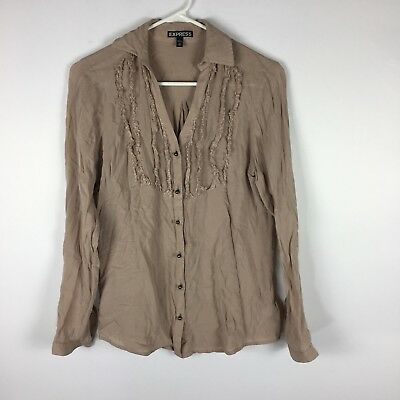 AU17.03 • Buy Express Women's Size XS Beige Button Up Ruffle Front Career Casual Blouse. C5