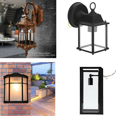 Waterproof Traditional Outdoor Wall Light Clear Metal Lantern Garden Wall Lamp • 12.59£