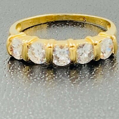 9ct Yellow Gold 1.25ct White Spinel Eternity Ring Sz M 1/2 # 699 • 145£