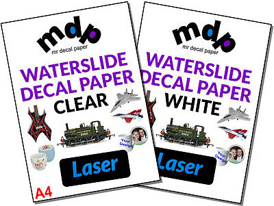 Water Slide Decal Paper A4 LASER Waterslide Transfer Paper – TEN PACK SIZES • 7.99£