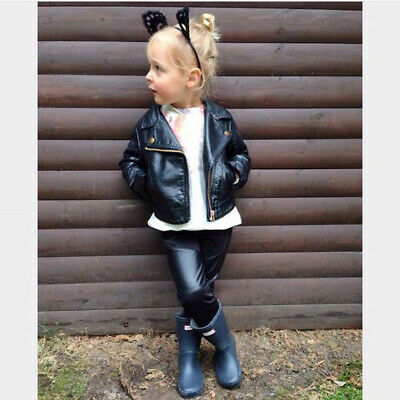 Autumn Winter Kids Baby Girls Boys Outerwear Leather Coat Short Jacket Clothes • 14.58£