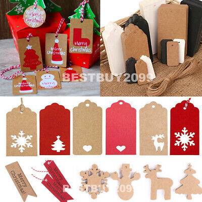 50/100 Christmas Kraft Paper Gift Tags Price Scallop Label Blank Luggage Wedding • 3.29£