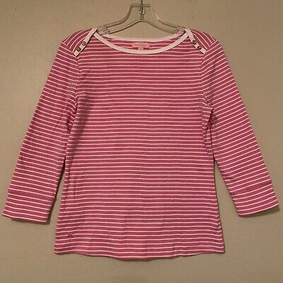 Lilly Pulitzer Pink Striped 100% Cotton Tee Women's Size Medium T-Shirt • 12.99$