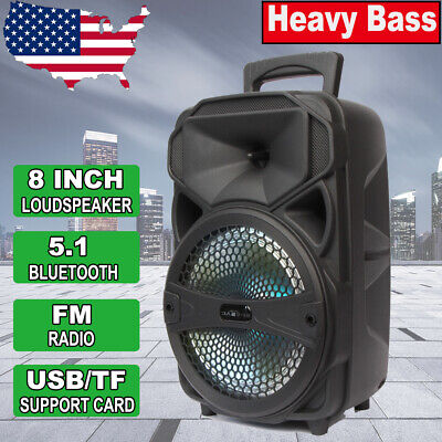 $38.99 • Buy 8  Party Bluetooth Led Speaker 1000 Watts System Portable Stereo Tailgate Loud
