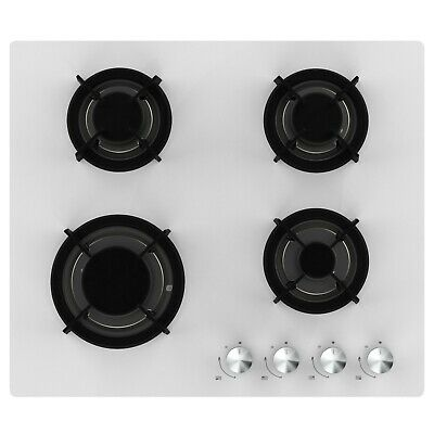 £129.99 • Buy Cookology White Gas On Glass Hob GGH605WH 60cm Built-in & Cast Iron Pan Supports