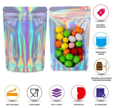 Hologram One Side Clear Heat Sealable Stand Up Pouche Food Grade Smell Proof Bag • 6.99£