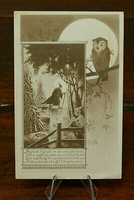 $ CDN188.02 • Buy Vintage Halloween Postcard Owl & Moon Inset Witch In Forest Gibson Sepia Mailed