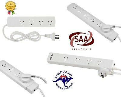 AU24.97 • Buy 4/6 Way Socket Outlet Surge Protector PowerBoard PowerPoint Lead USB Port Cord
