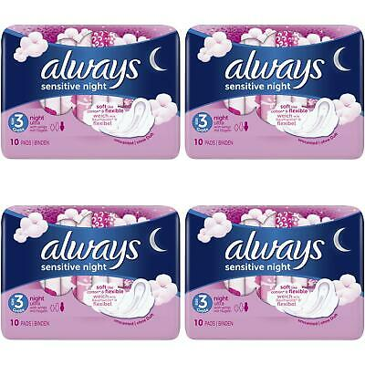 £6.73 • Buy Always Sensitive Night Ultra Sanitary Towels Soft With Wings - Size 3 - 40 Pads