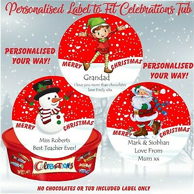 Personalised Chocolate LABEL ONLY Fits Celebrations Tub Christmas Elf,Santa Snow • 2.99£
