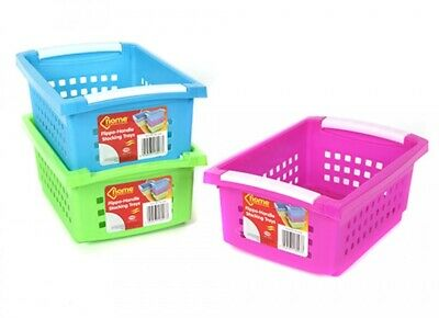 Multi Purpose Plastic Colour Storage Rack Stand Stacking Stackable Baskets • 6.49£