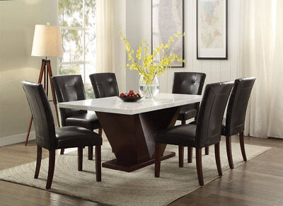 $850 • Buy Acme Forbes 7 Piece White Marble Top Dining Room Set 72120