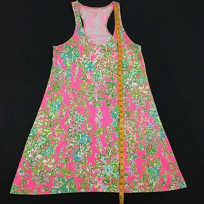 Lilly Pulitzer Floral Racerback Sleeveless Dress Size Medium  Pink Green  • 26.96$