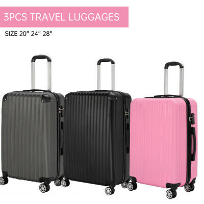 "View Details 3Pcs Travel Luggage Set Trolley Spinner Suitcase Bag Truely TSA Lock 20/24/28"" • 99.99$"