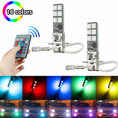 AU10.60 • Buy 2x H3 5050 RGB LED 12SMD Car Headlight Fog Light Lamp Bulb + Remote Control YX