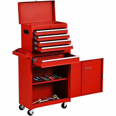 View Details 2 In 1 Rolling Tool Box Organizer Tool Chest W/5 Sliding Drawers Utility Red • 159.89$