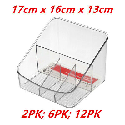 AU19.95 • Buy Crystal Clear W Compartments Organiser Container Fridge Pantry Office Storage