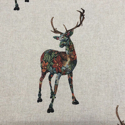 Gaea & The Stag Linen Fabric | Deer Floral Nature Voyage Style |  Curtains Blind • 13.95£