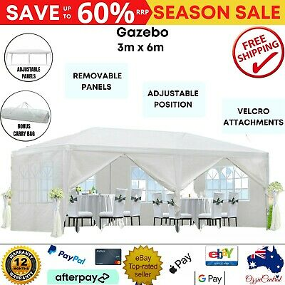 AU118.44 • Buy Gazebo Outdoor Tent Folding Marquee Party Wedding Canopy Waterproof White 3mx6m