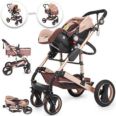 £165.96 • Buy VEVOR 3 IN 1 Baby Strollers Pram Car Seat Pushchair Carry Cot Travel System