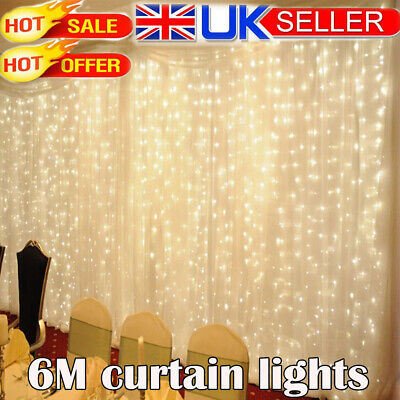 600 LED Fairy String Lights Curtain Window Backdrop Lamps Christmas Party Decor • 13.99£