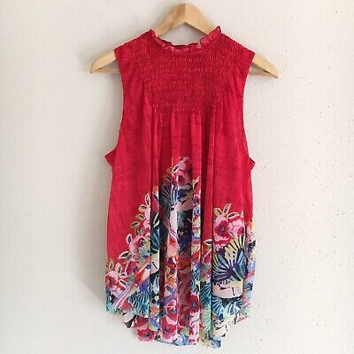 $ CDN43.73 • Buy Anthropologie Deletta Womens Size Medium Epona Red Bird Floral Swing Tank Blouse