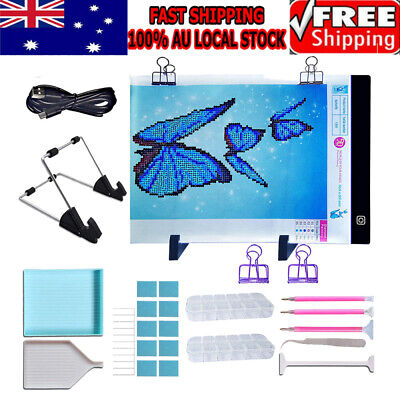 AU34.29 • Buy 5D Diamond Painting Tools DIY Art Craft+A4 LED Pad Light Board With Stand Holder