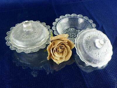 Vintage Pair Of Textured Glass Covered Candy Dishes Buffet Butter Dishes • 20.28£