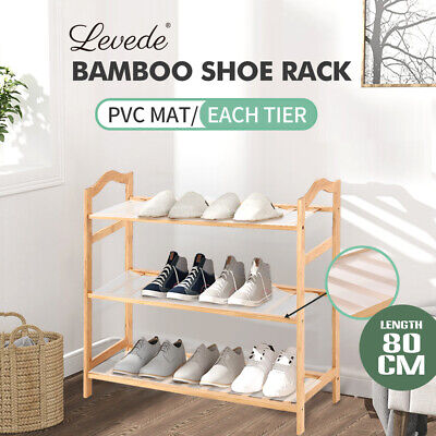 AU27.99 • Buy Levede Bamboo Shoe Rack Storage Wooden Organizer Shelf Stand 3 Tiers Layers 80cm