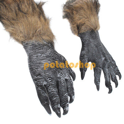 Halloween Wolf Claws Werewolf Dress Scary Gloves Wolfmen Hands Adult Costumes • 7.89£