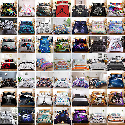 AU45.95 • Buy Animal Quilt Doona Duvet Cover Set Single/Double/Queen/King Size Bed Bedding Set