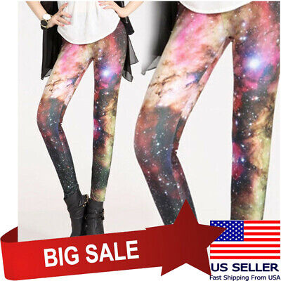 £5.67 • Buy Pink Cloud Cosmic Black Galaxy Leggings Starry Night Sky Milky Way Space Hipster