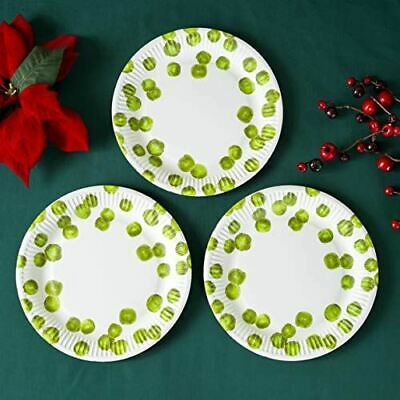 £3.50 • Buy Botanical Sprout Round Paper Party Christmas Plates X 8