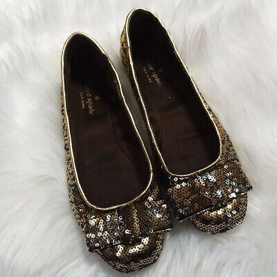 $19.99 • Buy Kate Spade Womens Gold Copper Silver Sequin Bow Ballet Flats Shoes Sz. 6.5 US