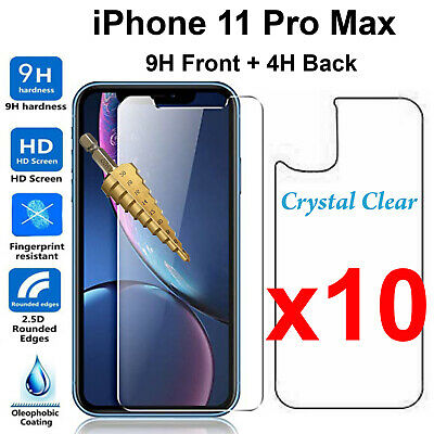 AU34.99 • Buy X10 Tempered Glass 9H Screen Protector For Apple IPhone 11 PRO MAX Front + Back