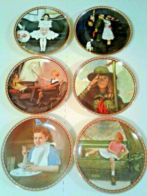 $ CDN30.38 • Buy Lot Of 6 Norman Rockwell Collector Plates  Study Of Girlhood  Knowles Fine China