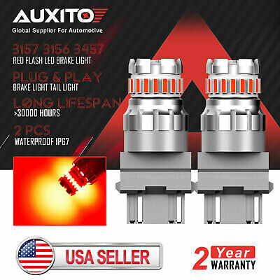 $13.59 • Buy 2X AUXITO 3157 3156 Canbus Red Strobe Flashing LED Brake Tail Stop Light Bulb