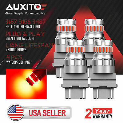 $21.99 • Buy 4X AUXITO 3157 3156 Red Strobe Flashing LED Brake Tail Stop Light Bulb No Error